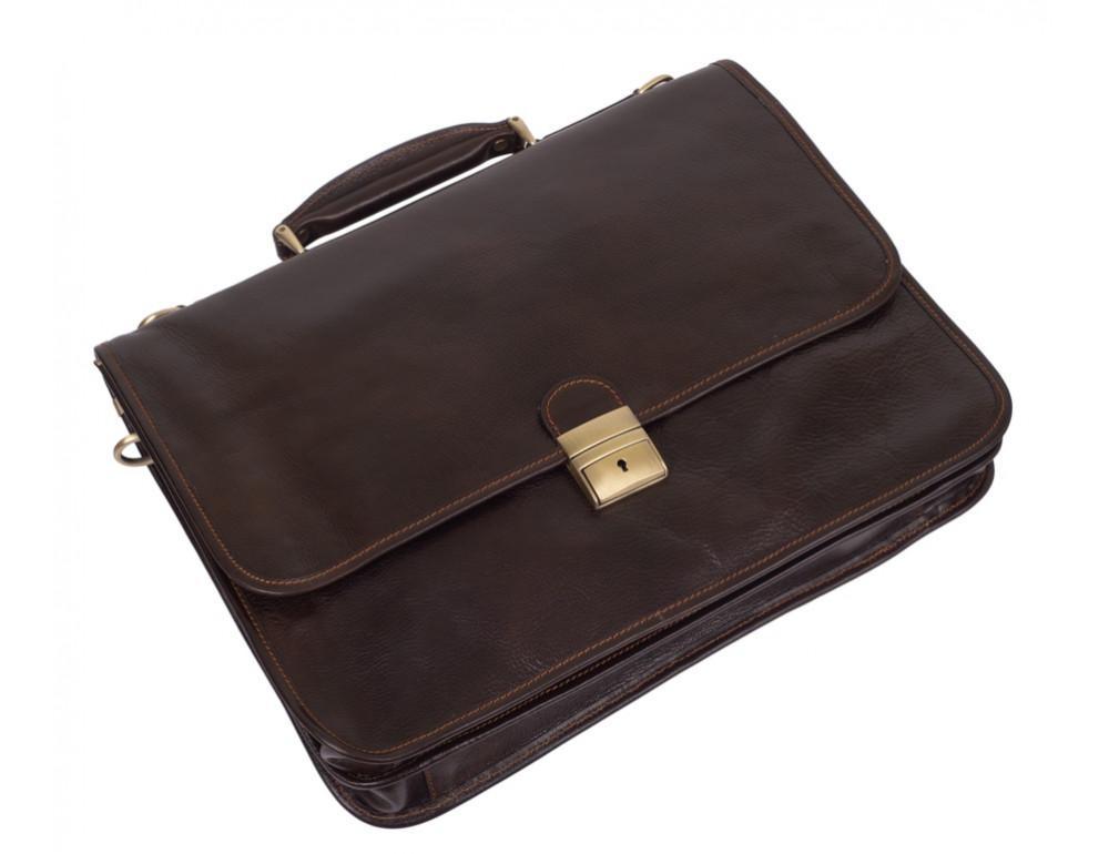 Стильный кожаный портфель VIRGINIA CONTI VCMJN02BROWN - Фото № 4