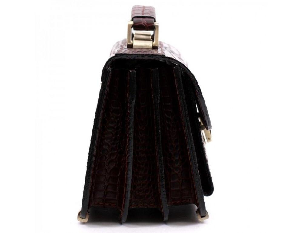 Коричнева шкіряна борсетки Manufatto Візитка 2 Brown Croco - Фотографія № 3
