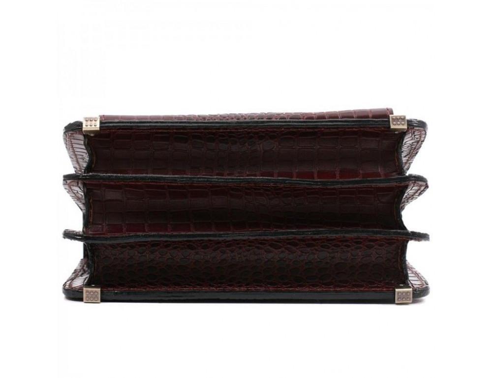 Коричнева шкіряна борсетки Manufatto Візитка 2 Brown Croco - Фотографія № 5