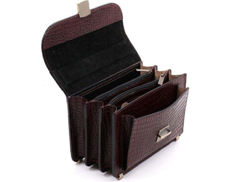 Коричнева шкіряна борсетки Manufatto Візитка 2 Brown Croco - Фотографія № 7