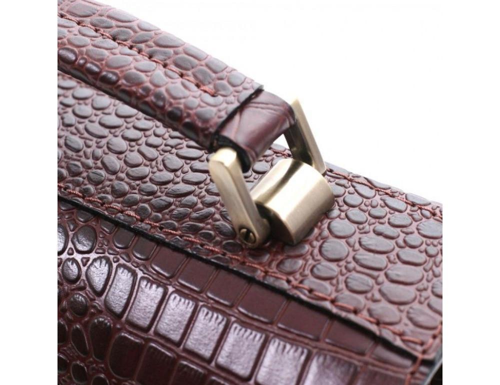 Коричнева шкіряна борсетки Manufatto Візитка 2 Brown Croco - Фотографія № 9