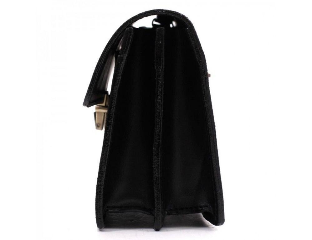 Чёрная кожаная борсетка с ремнём Manufatto Визитка 3 Black - Фото № 3