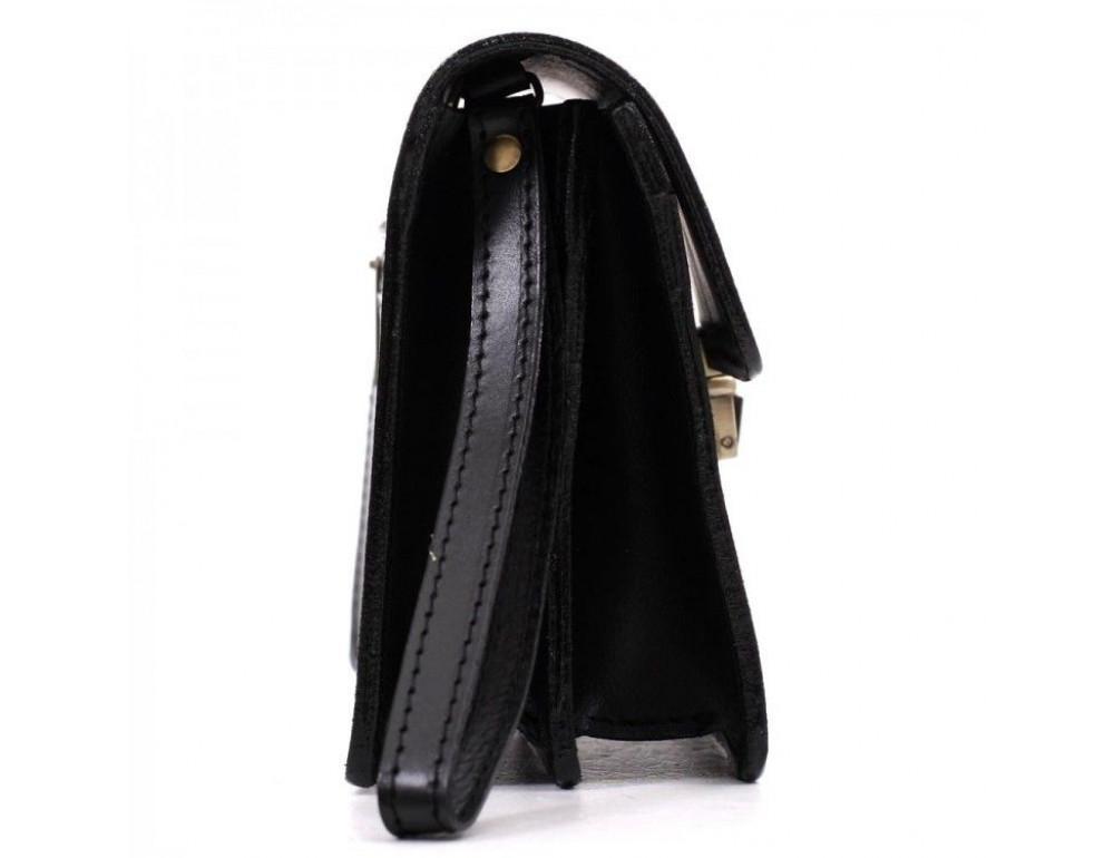 Чёрная кожаная борсетка с ремнём Manufatto Визитка 3 Black - Фото № 4