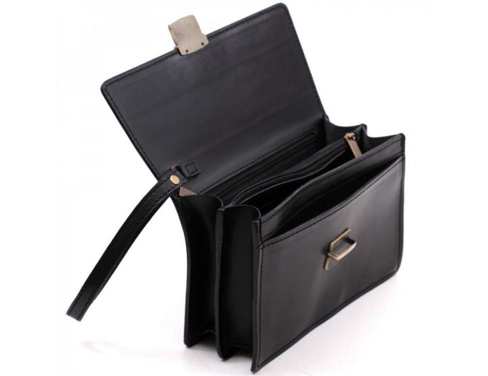 Чёрная кожаная борсетка с ремнём Manufatto Визитка 3 Black - Фото № 6