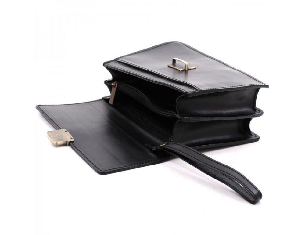 Чёрная кожаная борсетка с ремнём Manufatto Визитка 3 Black - Фото № 7
