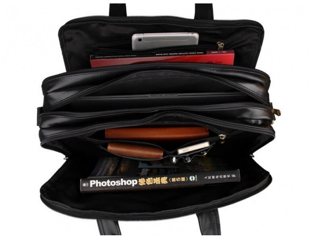 Вместительный кожаный портфель JASPER&MAINE 7146A-1 чёрный - Фото № 3