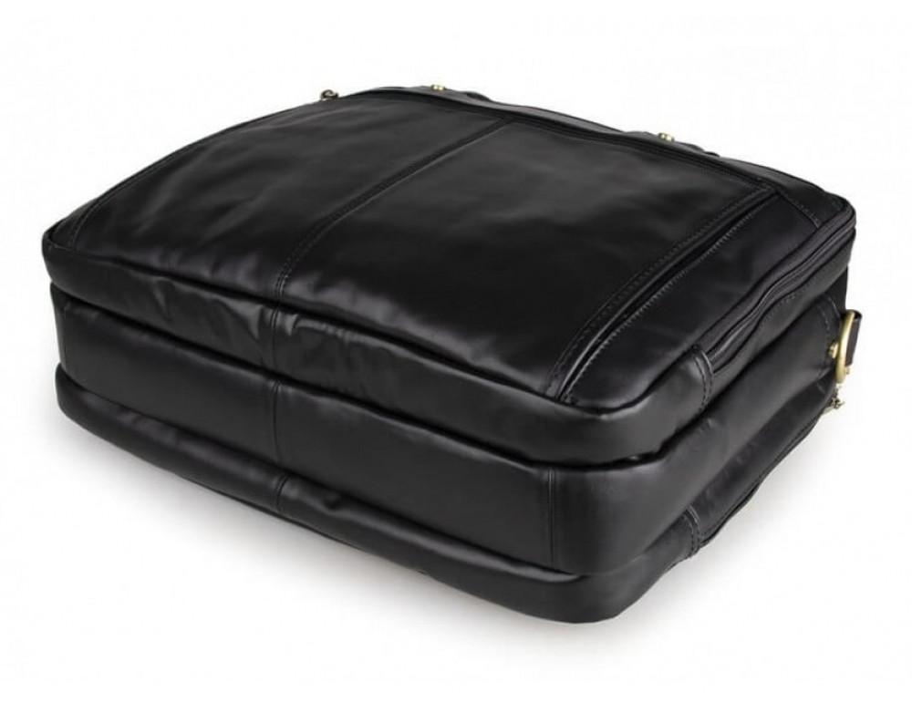 Вместительный кожаный портфель JASPER&MAINE 7146A-1 чёрный - Фото № 4