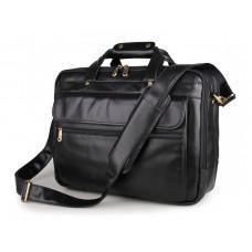 Вместительный кожаный портфель JASPER&MAINE 7146A-1 чёрный