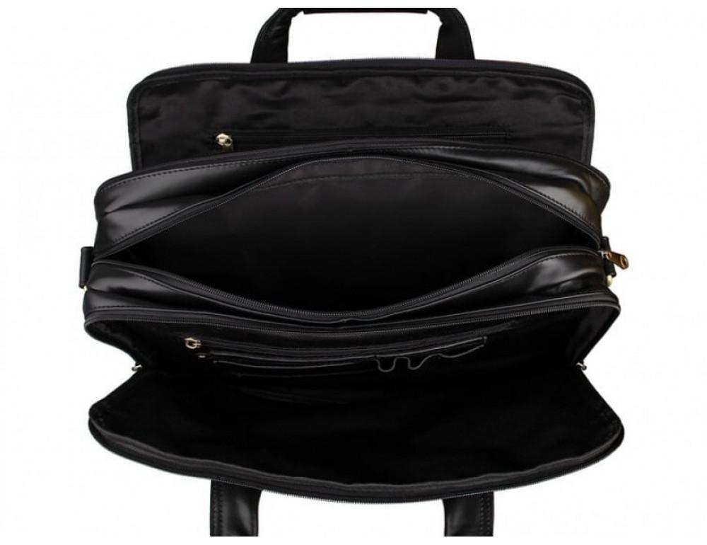 Вместительный кожаный портфель JASPER&MAINE 7146A-1 чёрный - Фото № 2