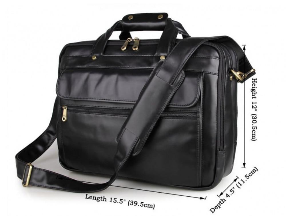 Вместительный кожаный портфель JASPER&MAINE 7146A-1 чёрный - Фото № 5