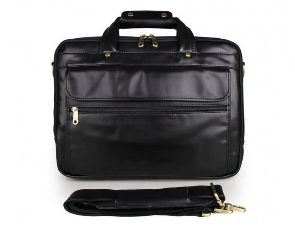 Вместительный кожаный портфель JASPER&MAINE 7146A-1 чёрный - Фото № 6