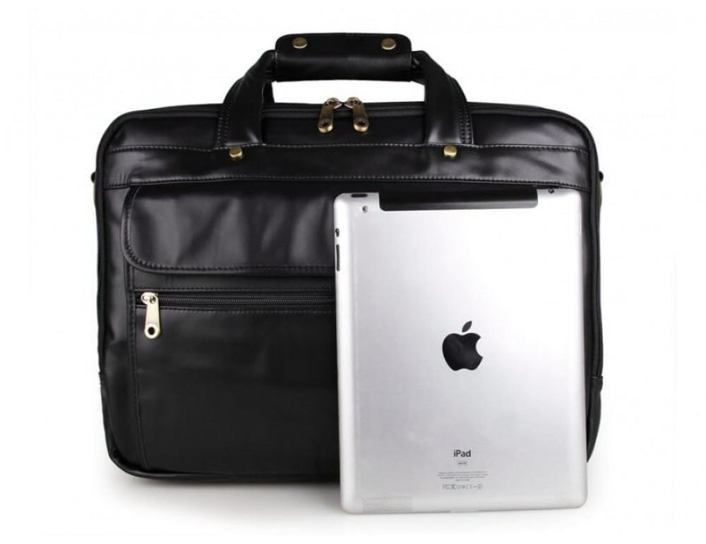 Вместительный кожаный портфель JASPER&MAINE 7146A-1 чёрный - Фото № 7