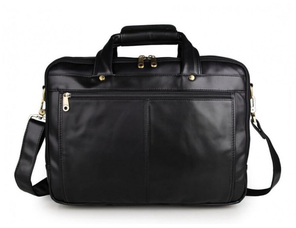 Вместительный кожаный портфель JASPER&MAINE 7146A-1 чёрный - Фото № 8