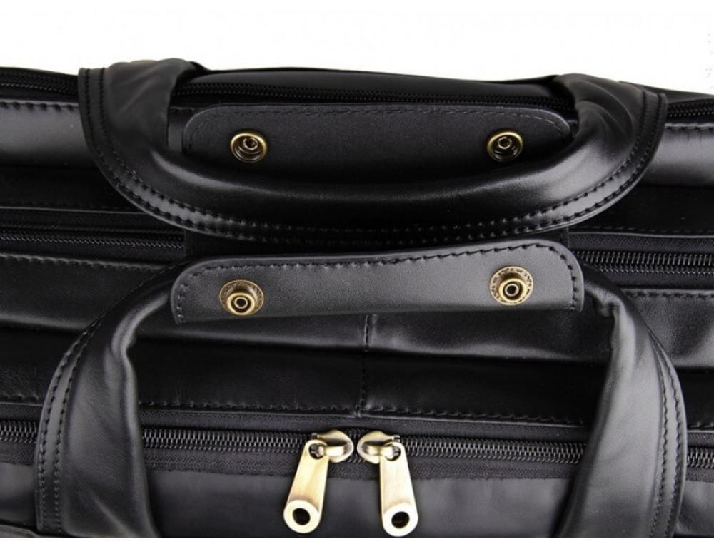 Вместительный кожаный портфель JASPER&MAINE 7146A-1 чёрный - Фото № 9