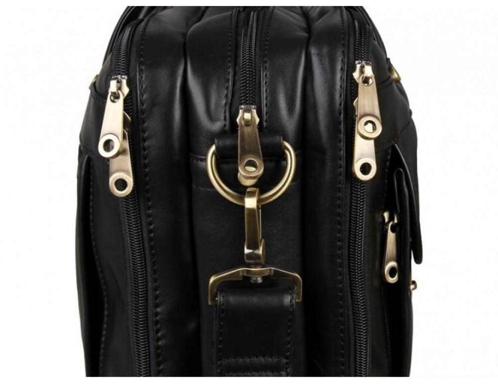 Вместительный кожаный портфель JASPER&MAINE 7146A-1 чёрный - Фото № 10