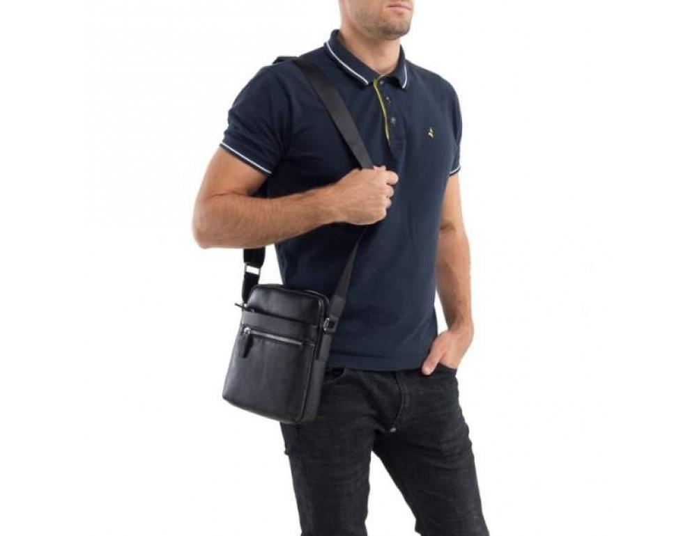 Кожаный мессенджер TIDING BAG M900-1A чёрная - Фото № 2