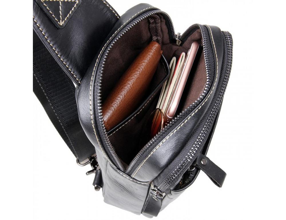 Кожаный рюкзак Tiding Bag 4002A черный - Фото № 8