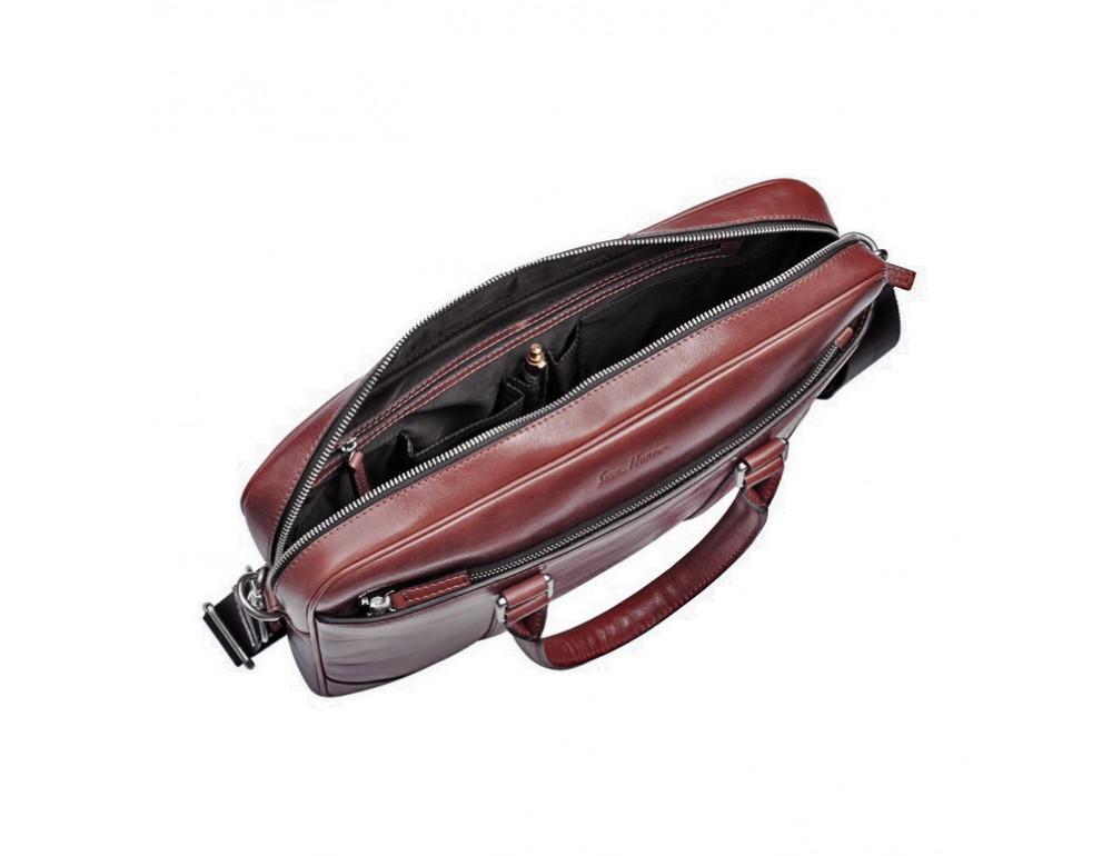 Мужской кожаный портфель Issa Hara B14 (92-00) тёмно-коричневый - Фото № 5