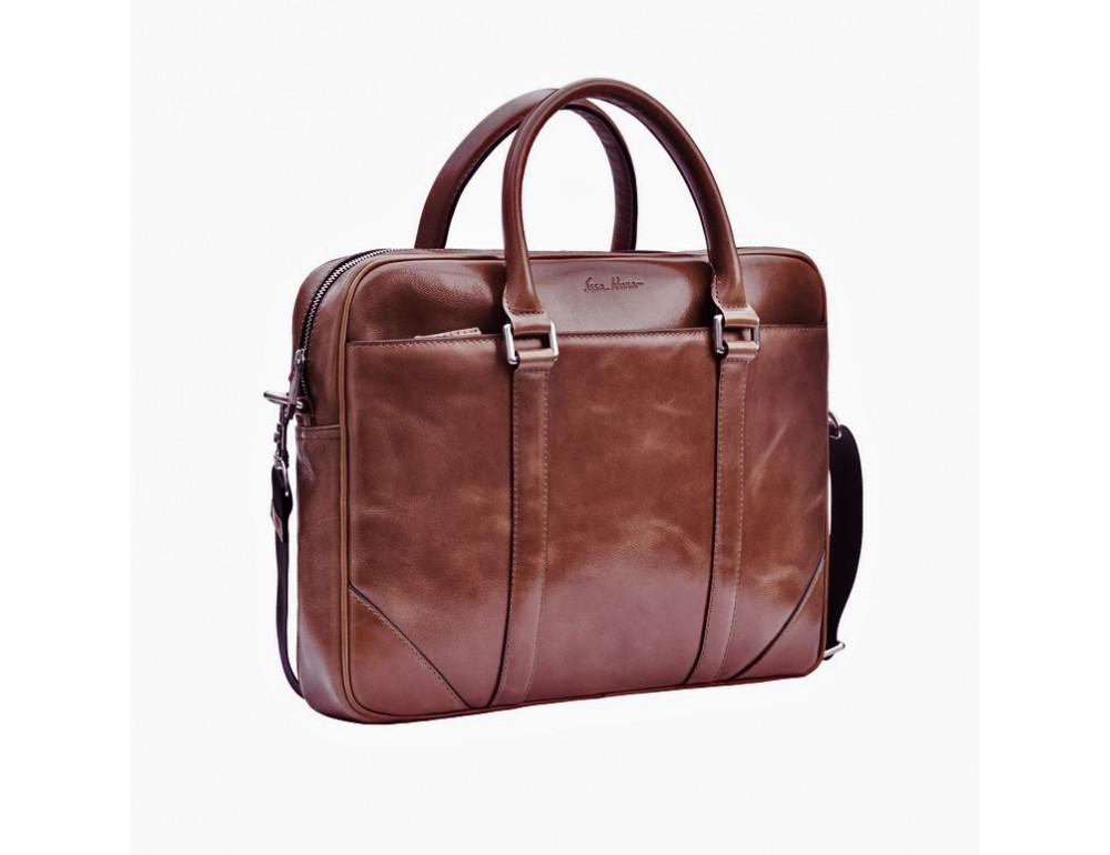 Мужской кожаный портфель Issa Hara B14 (92-00) тёмно-коричневый - Фото № 7