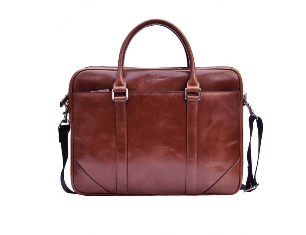 Мужской кожаный портфель Issa Hara B14 (92-00) тёмно-коричневый - Фото № 6