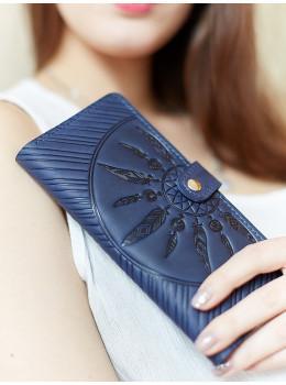 Женский кошелек из кожи Blanknote BN-PM-7-nn-ls темно-синий