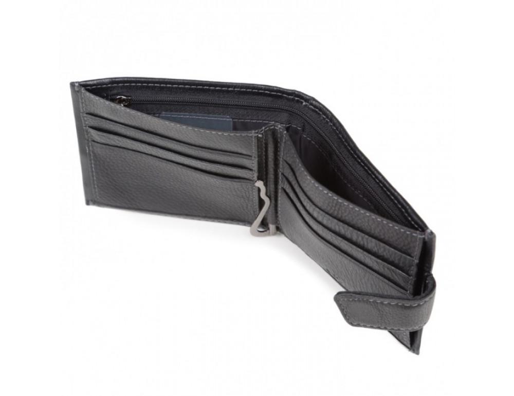 Мужской кожаный кошелёк MS Collection MD 4m-611 черный - Фото № 3