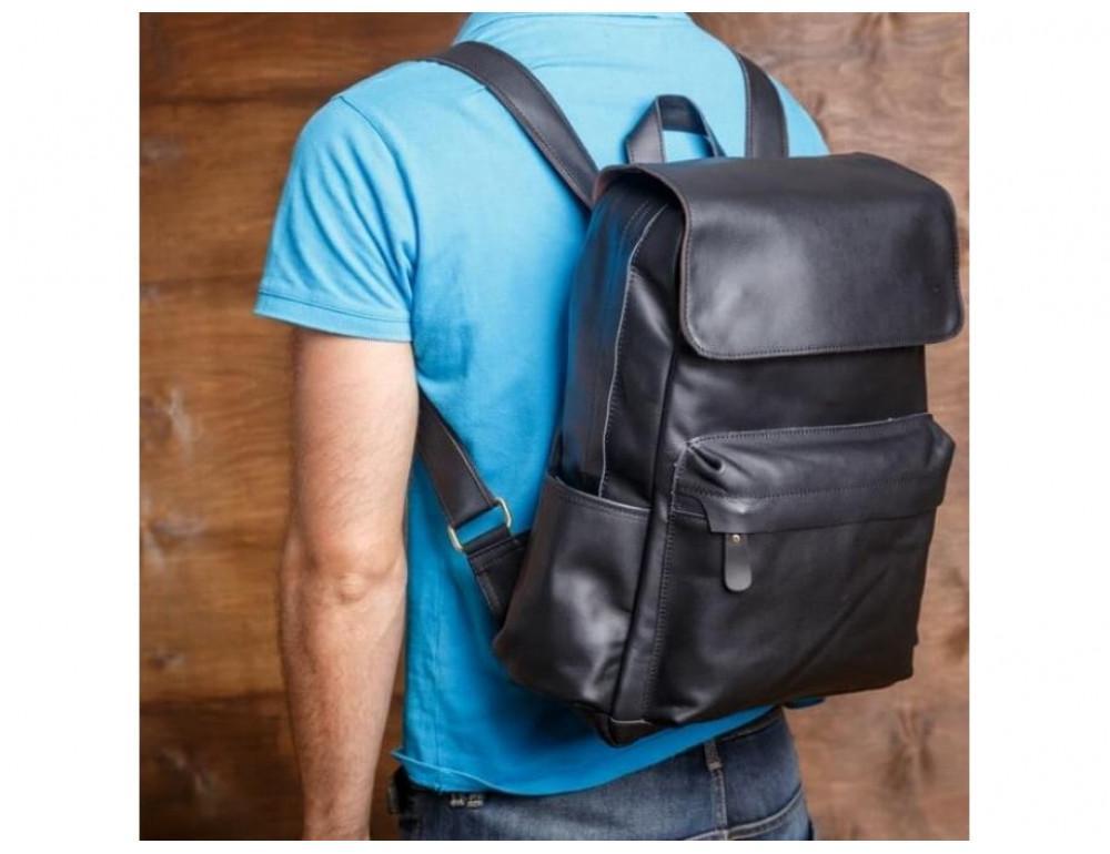 Мужской кожаный рюкзак Tiding Bag Bp5-2805A чёрный - Фото № 2