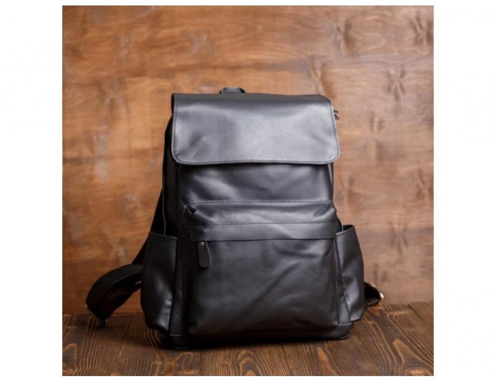 Мужской кожаный рюкзак Tiding Bag Bp5-2805A чёрный - Фото № 3