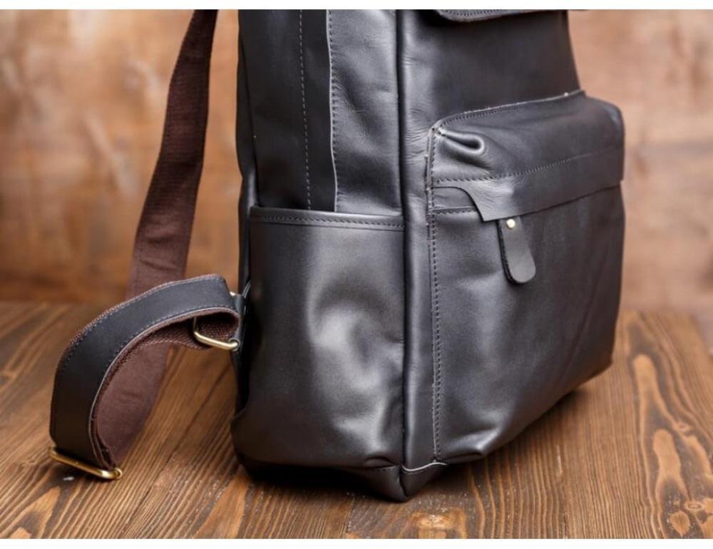 Мужской кожаный рюкзак Tiding Bag Bp5-2805A чёрный - Фото № 4