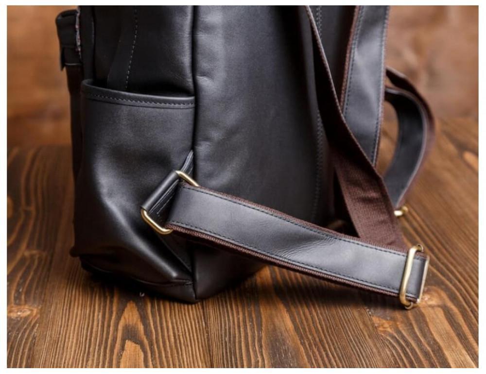 Мужской кожаный рюкзак Tiding Bag Bp5-2805A чёрный - Фото № 8