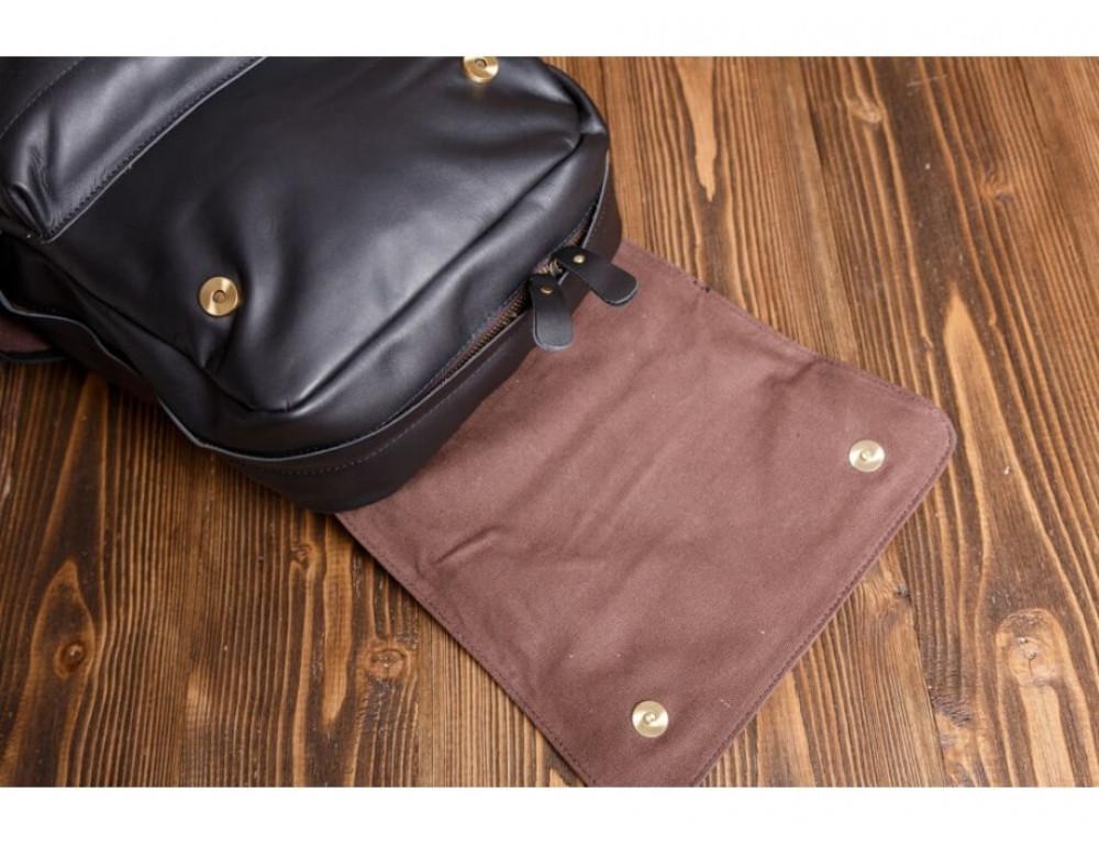 Мужской кожаный рюкзак Tiding Bag Bp5-2805A чёрный - Фото № 9
