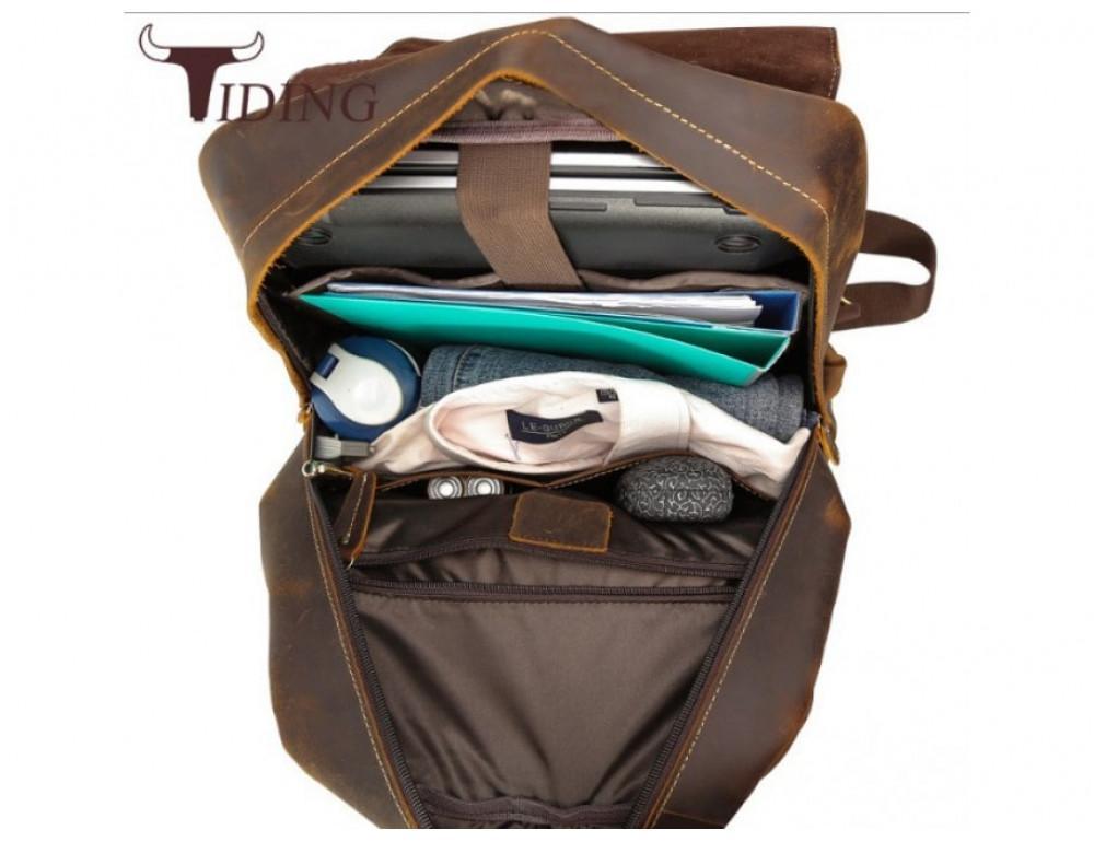 Мужской кожаный рюкзак Tiding Bag Bp5-2805J коричневый - Фото № 6
