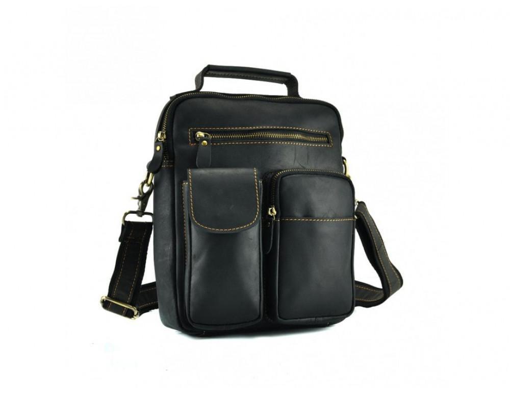 Кожаная барсетка TIDING BAG t1171A чёрная - Фото № 3