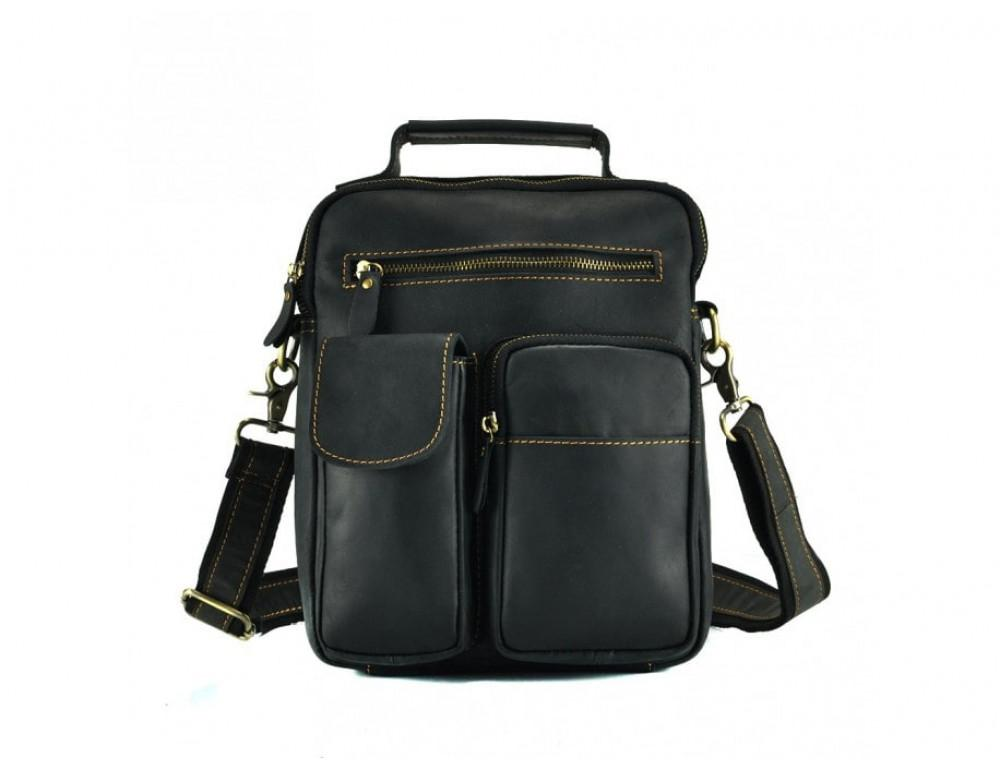 Кожаная барсетка TIDING BAG t1171A чёрная - Фото № 4