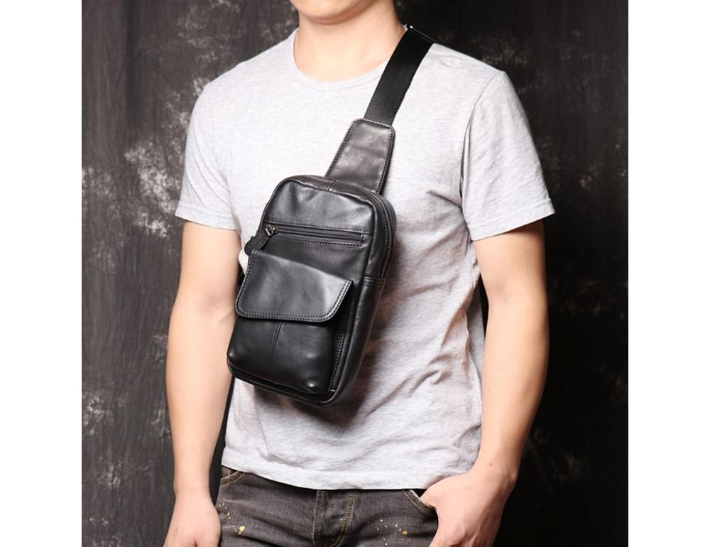 Чёрная кожаная сумка слинг Vintage Vn123-5A - Фото № 2