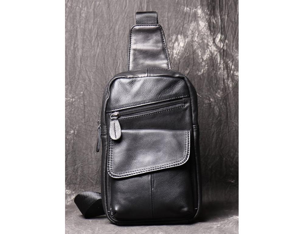 Чёрная кожаная сумка слинг Vintage Vn123-5A - Фото № 1