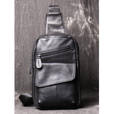 Чорна шкіряна сумка слінг Vintage Vn123-5A
