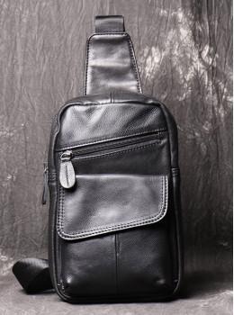 Чёрная кожаная сумка слинг Vintage Vn123-5A