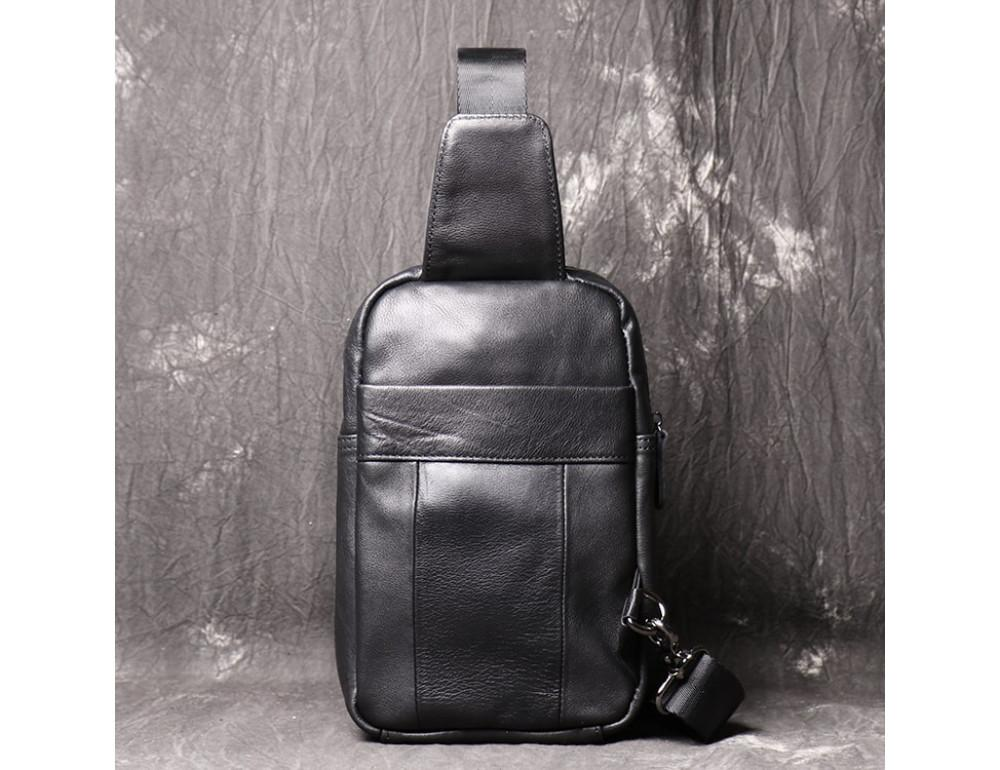 Чёрная кожаная сумка слинг Vintage Vn123-5A - Фото № 3