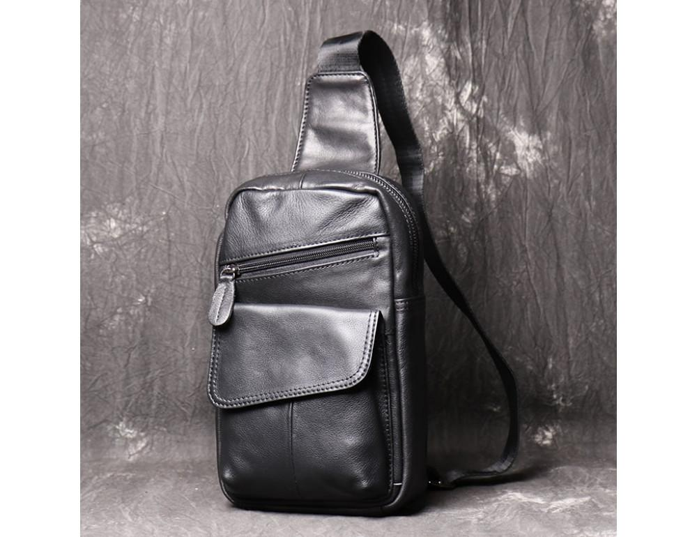Чёрная кожаная сумка слинг Vintage Vn123-5A - Фото № 4
