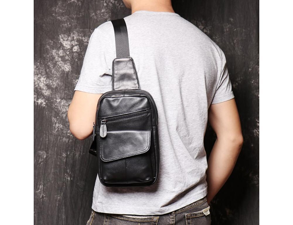 Чёрная кожаная сумка слинг Vintage Vn123-5A - Фото № 5