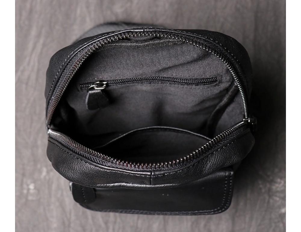 Чёрная кожаная сумка слинг Vintage Vn123-5A - Фото № 6