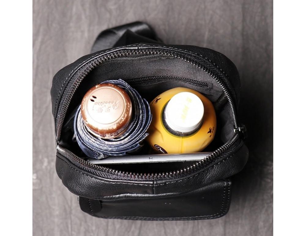 Чёрная кожаная сумка слинг Vintage Vn123-5A - Фото № 7