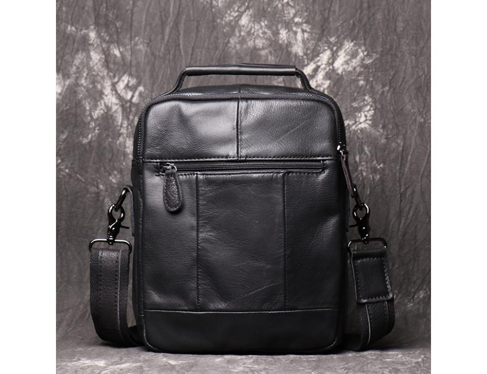 Чёрный кожаный месседжер мужской Vintage Vn88992A - Фото № 2