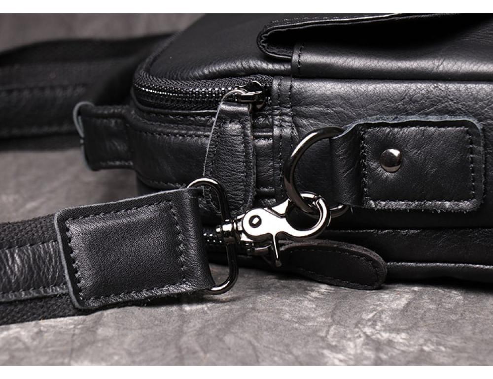 Чёрный кожаный месседжер мужской Vintage Vn88992A - Фото № 3