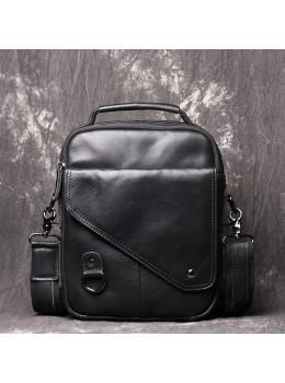 Чёрный кожаный месседжер мужской Vintage Vn88992A