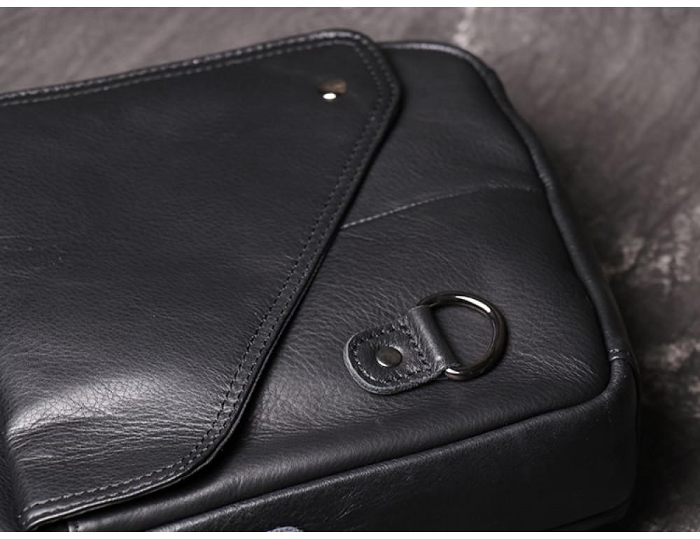 Чёрный кожаный месседжер мужской Vintage Vn88992A - Фото № 4
