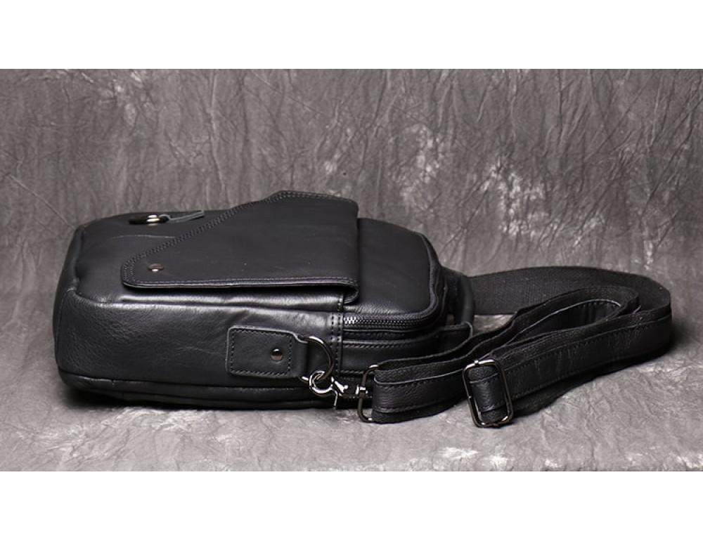 Чёрный кожаный месседжер мужской Vintage Vn88992A - Фото № 5