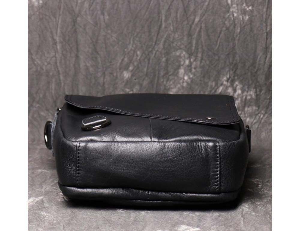Чёрный кожаный месседжер мужской Vintage Vn88992A - Фото № 6
