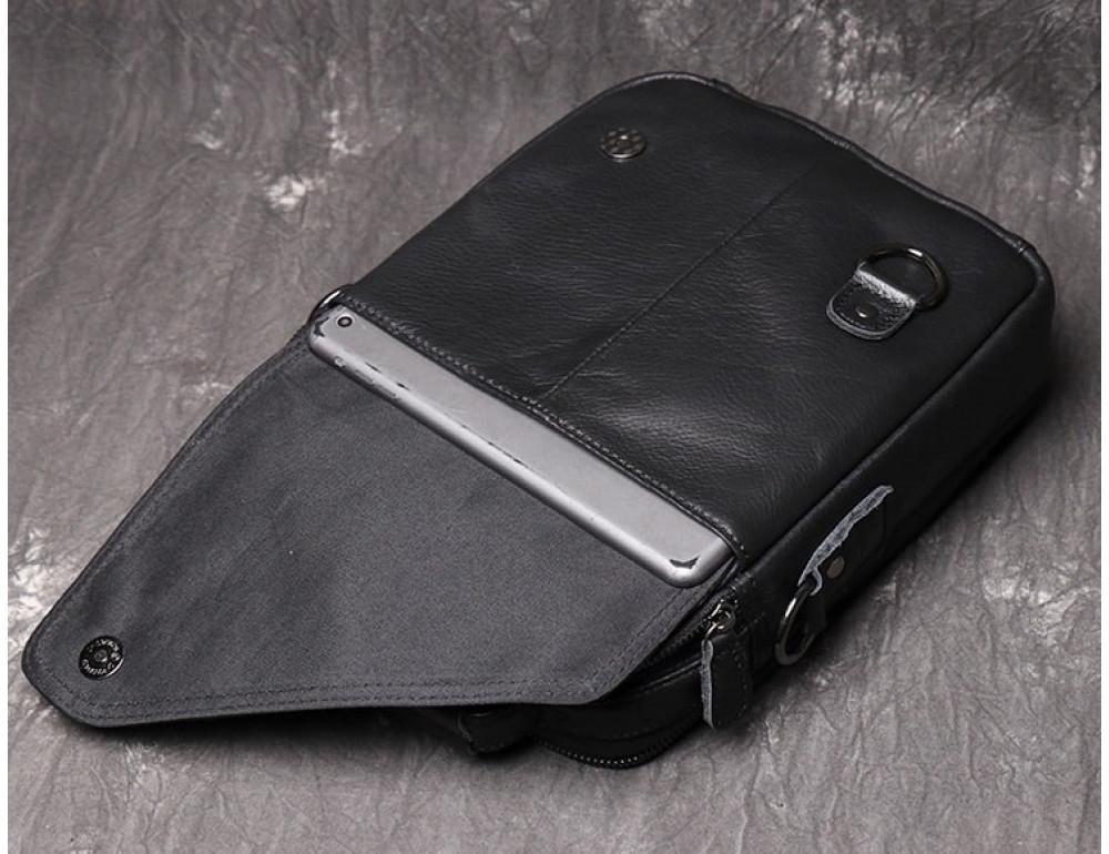Чёрный кожаный месседжер мужской Vintage Vn88992A - Фото № 7